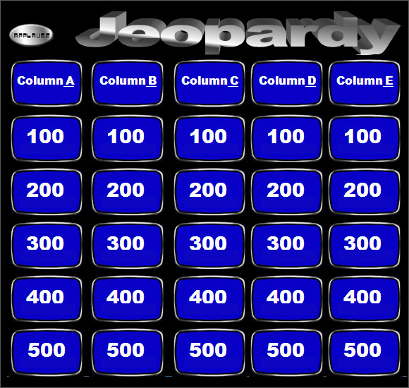 Blank Jeopardy Template 9 Download Documents in PDF PPT – Blank Jeopardy Template