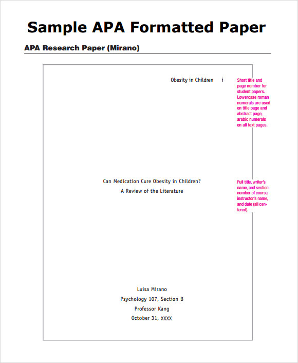 sample paper with apa format