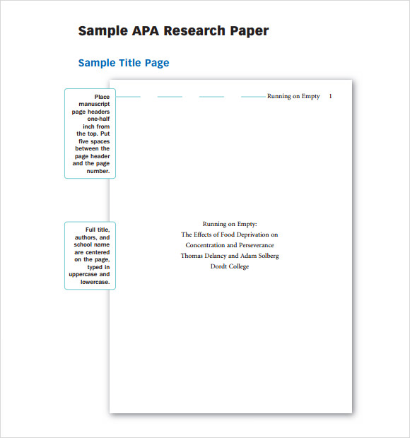 Sample Apa Outline Template  Free Documents In Pdf