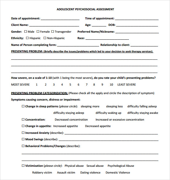 Adolescent Psychosocial Assessment Template