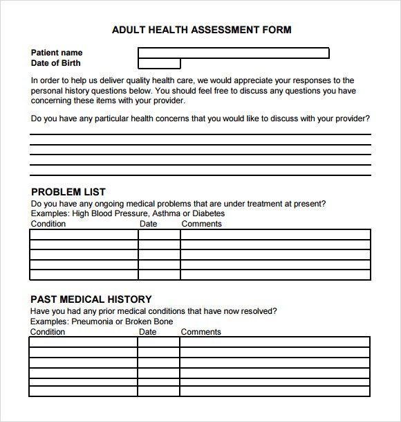 Amazing Health Assessment Template Pictures Inspiration  Examples