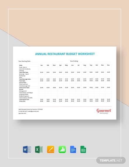 annual restaurant budget worksheet