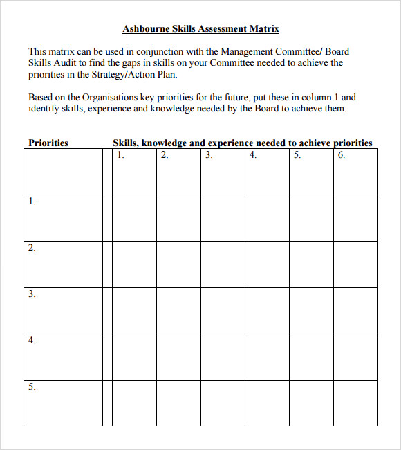 ashbourne skills assessment matrix template