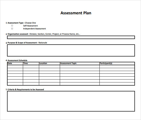 assessment of risk in business plan sample