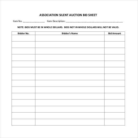 image about Printable Silent Auction Bid Sheets referred to as Totally free 20+ Pattern Quiet Auction Bid Sheet Templates inside Document PDF