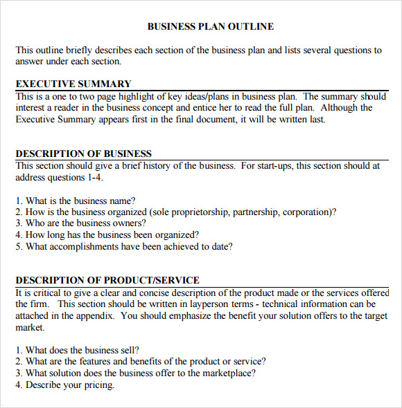 Basic Business Plan Outline Template - Business plan format template