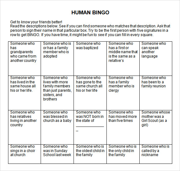 Sample Blank Bingo 8 Documents in Word PDF – Blank Card Template for Word