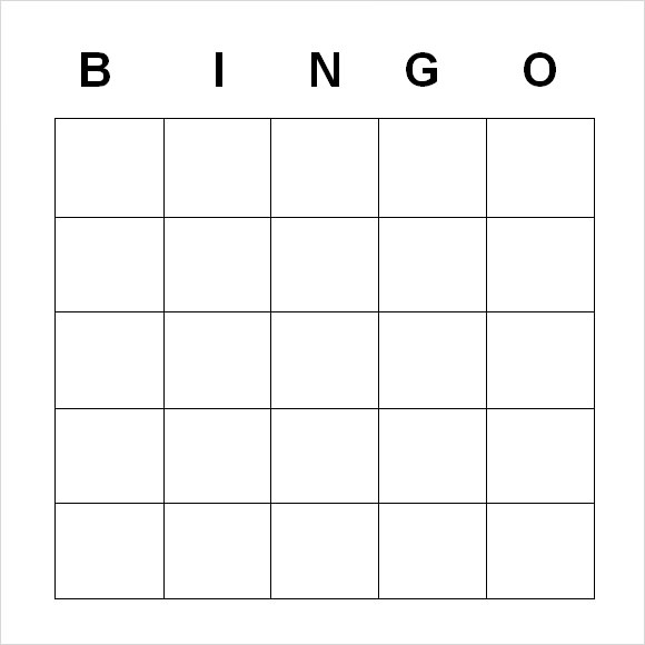 Blank Bingo Template Word Document  Blank Document Free