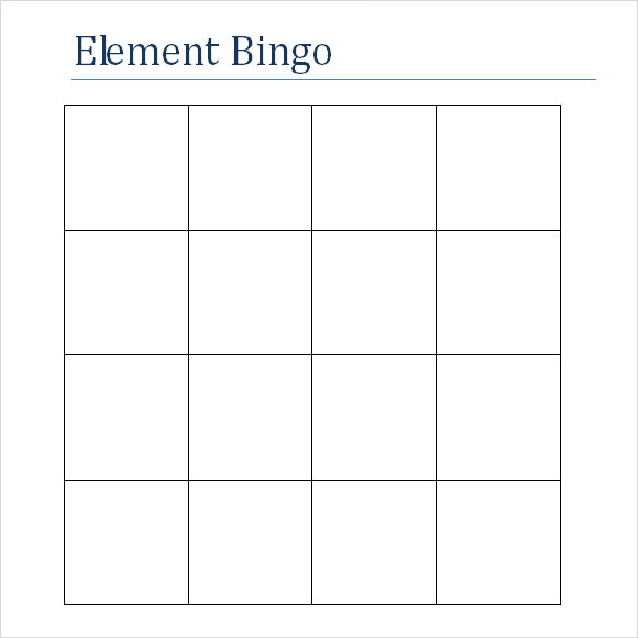 Blank Bingo Template For Word