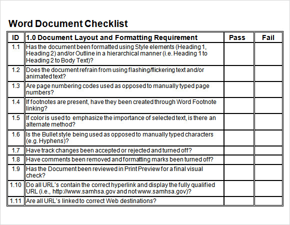 Sample Blank Checklist Template   Documents Download In Pdf
