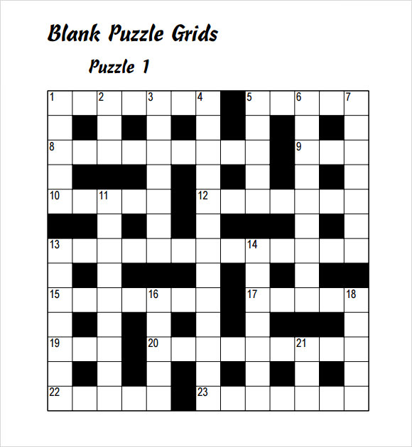 Sample Blank Crossword Template   Documents Download In Pdf