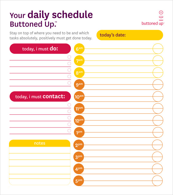 Daily Time Schedule Template  BesikEightyCo
