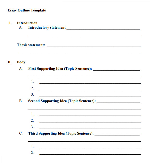 Essay template to fill in