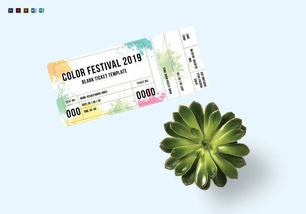 blank festival ticket template in psd