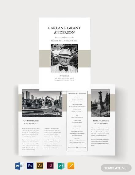 blank funeral mass bi fold brochure template