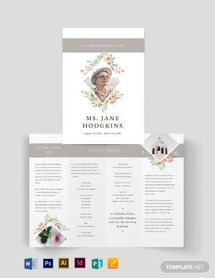 blank life celebration funeral bi fold brochure template