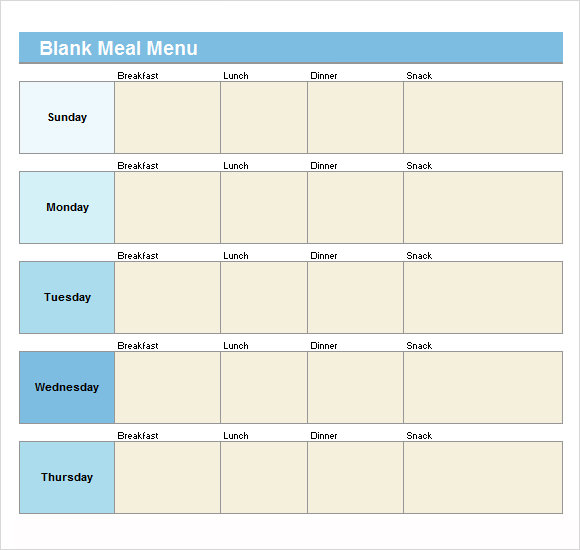blank menu template free download