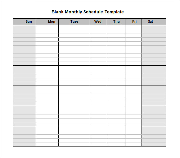 Monthly Schedule Template Blank Monthly Work Schedule Template Pdf