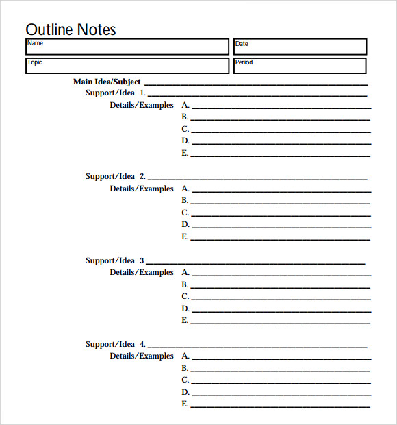 blank research paper outline