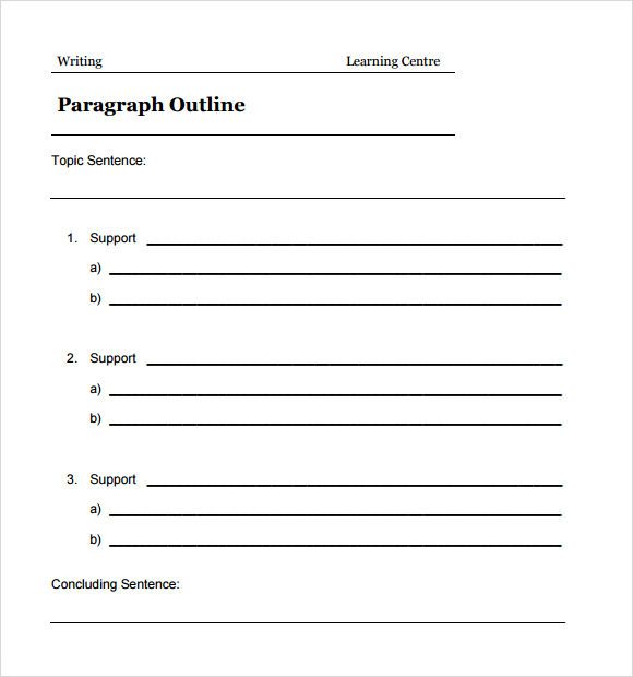 three guidelines for writing a paragraph template