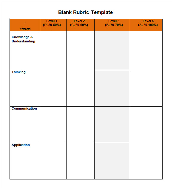 Sample Blank Rubric 9 Documents in Word PDF – Blank Rubric Template