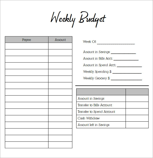 8 weekly budget samples pdf word sample templates for Budgeting sheets template