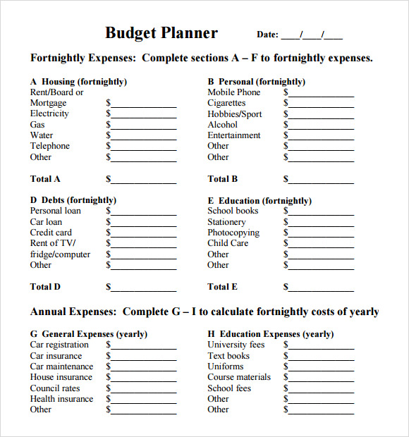 Budget Planner Template   Free Download For   Excel
