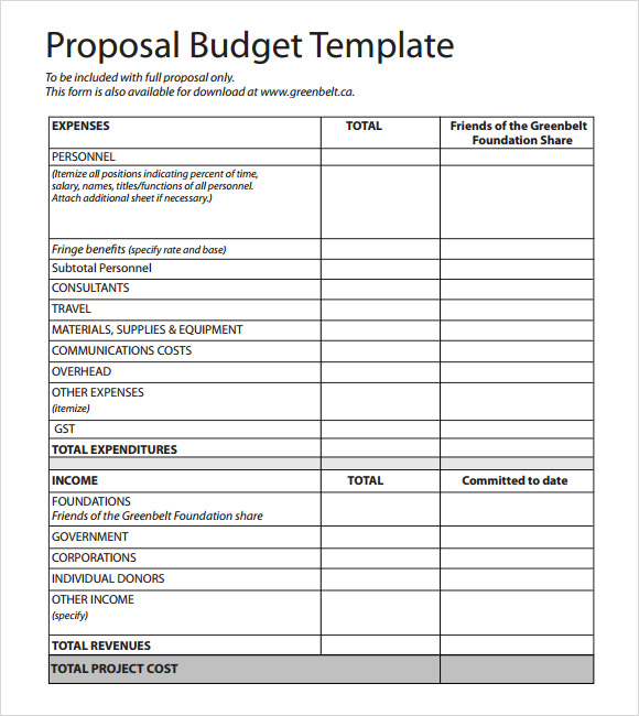 Budget Proposal Template 9 Free Download for PDF Word Excel – Project Budget Template
