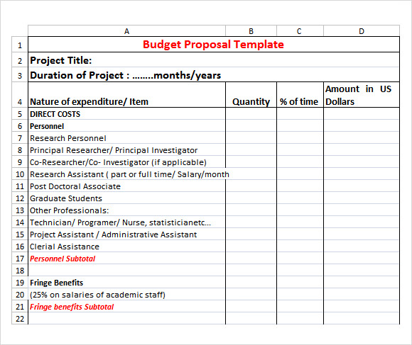 Budget Proposal Template 9 Free Download for PDF Word Excel – Budget Proposal Template Word