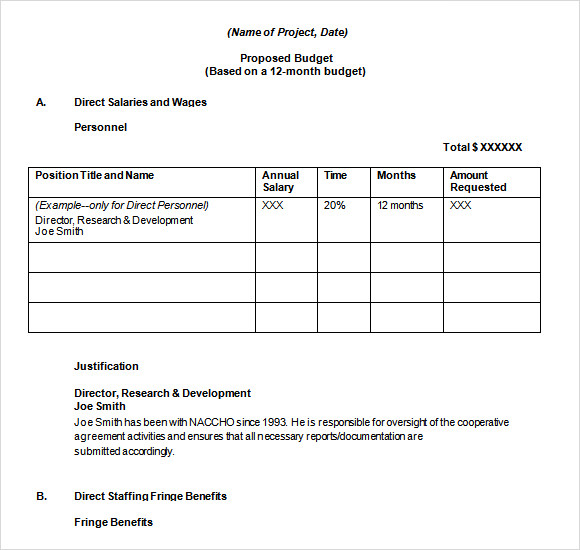 Budget Proposal Template 9 Free Download for PDF Word Excel – Word Template for Proposal