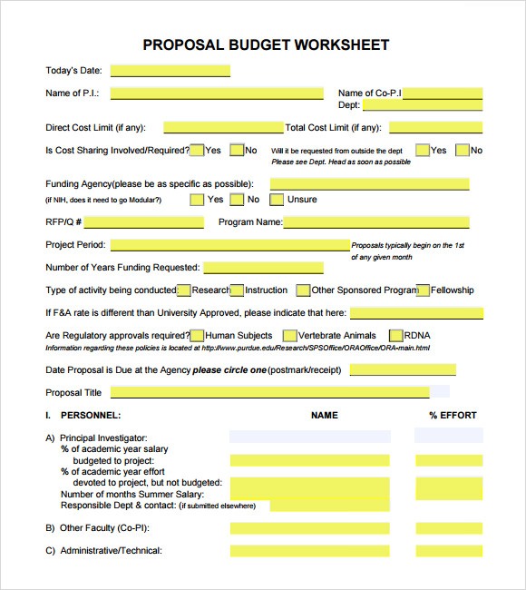 Budget Proposal Worksheet