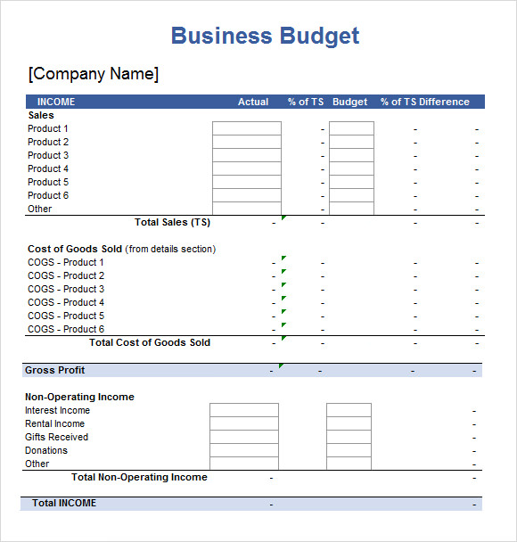 Free Business Budget Template U2026 Spreadsheet Templates U2013 Download Documents  In Excel Sample Templates
