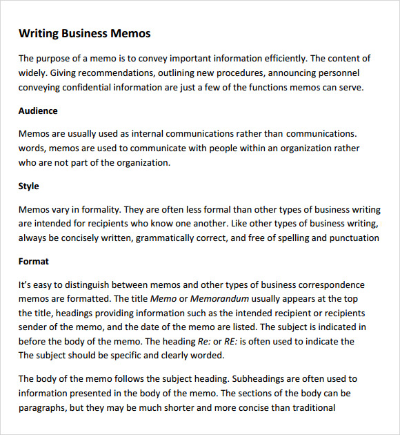 Good Business Memo Template