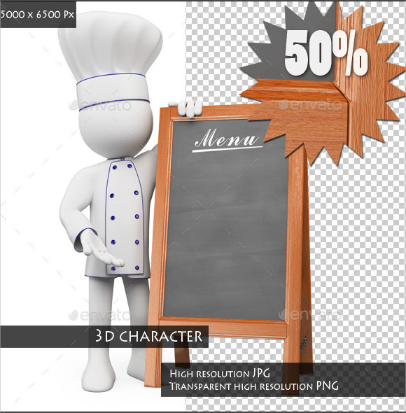 chef with a blank menu template