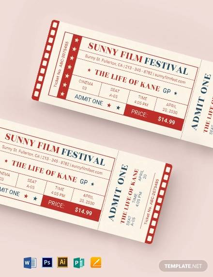 classic movie ticket template
