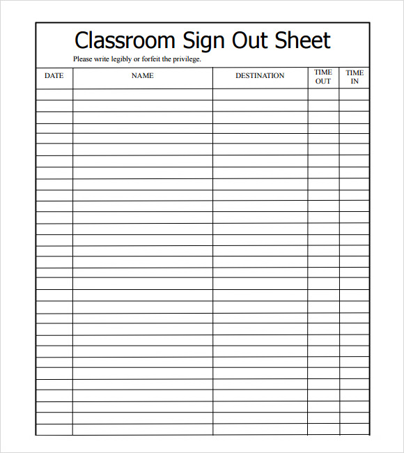 Charming Classroom Sign Out Sheet Template Design