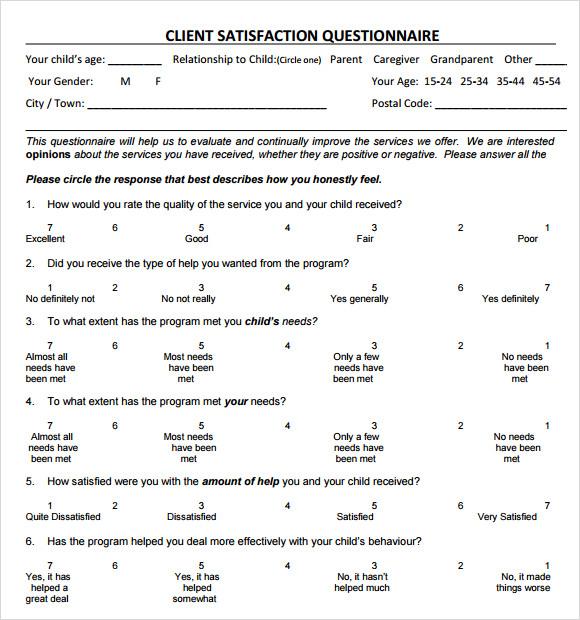service questionnaire template