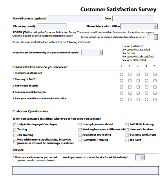 customer service survey examples