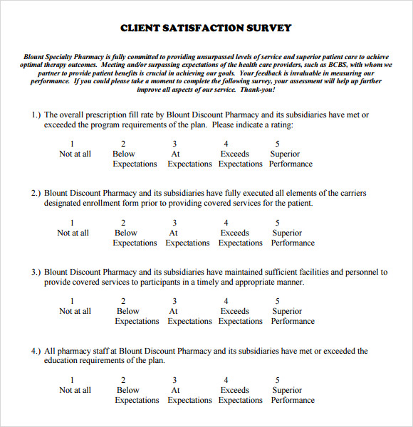 Sample Client Satisfaction Survey 6 Documents in PDF – Sample Customer Satisfaction Survey