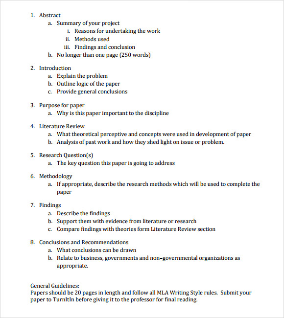 Mla Outline Template Research Paper Outline Examples Paper Outline