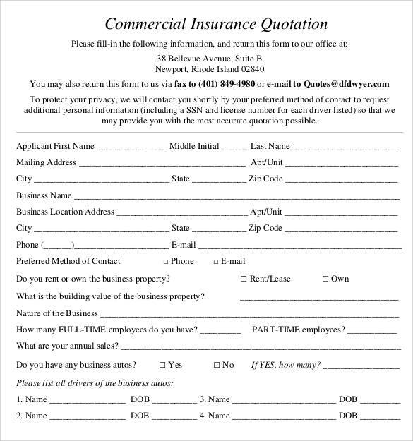 commercial insurance quotation