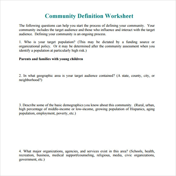 Community assessment research papers