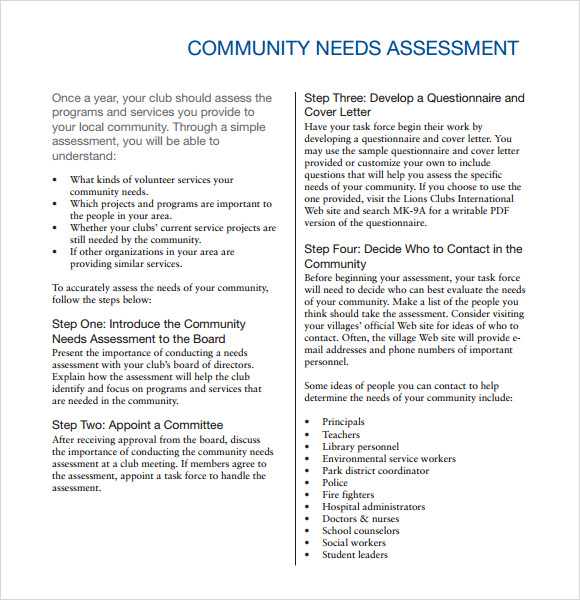 Community Needs Assessment 8 Free Download for PDF – Sample Needs Assessment