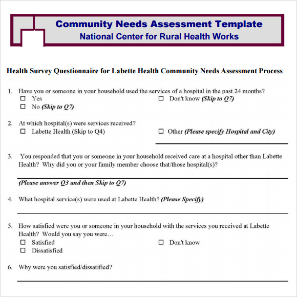 Community Needs Assessment - 8+ Free Download For Pdf