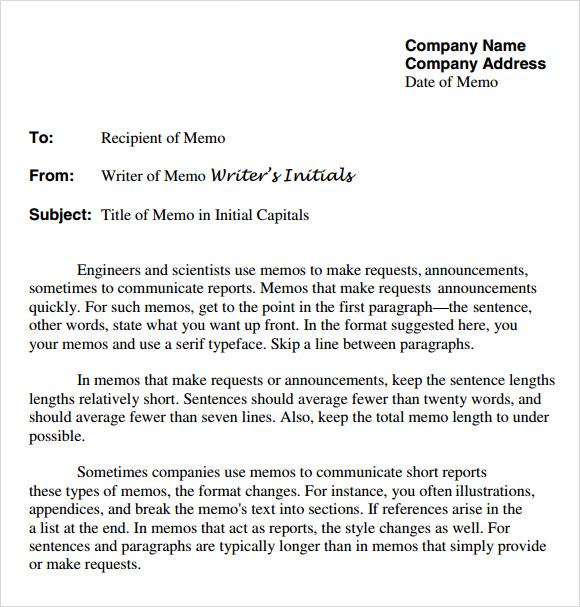Sample Company Memo Template 6 Free Documents Download in PDF Word – Memo Format Template