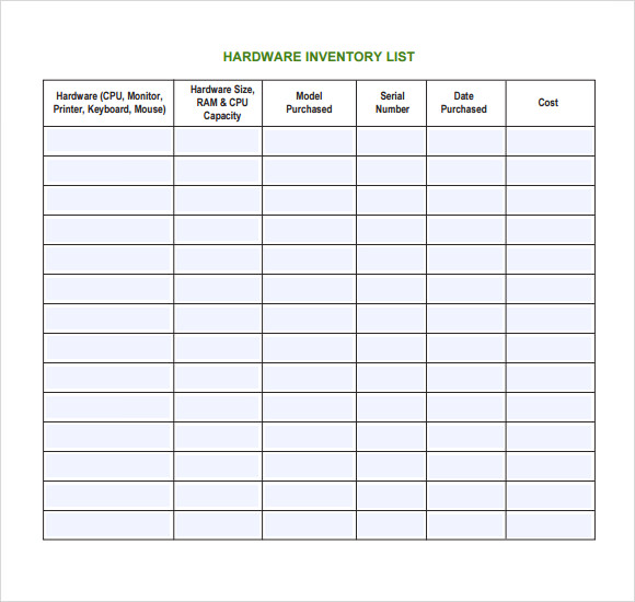 Sample It Inventory Template   Free Documents Download In