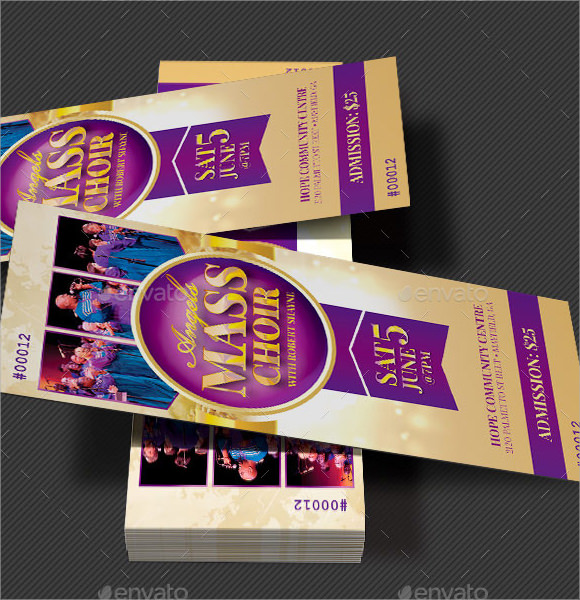 Music Concert Ticket Template - Ticket design template photoshop