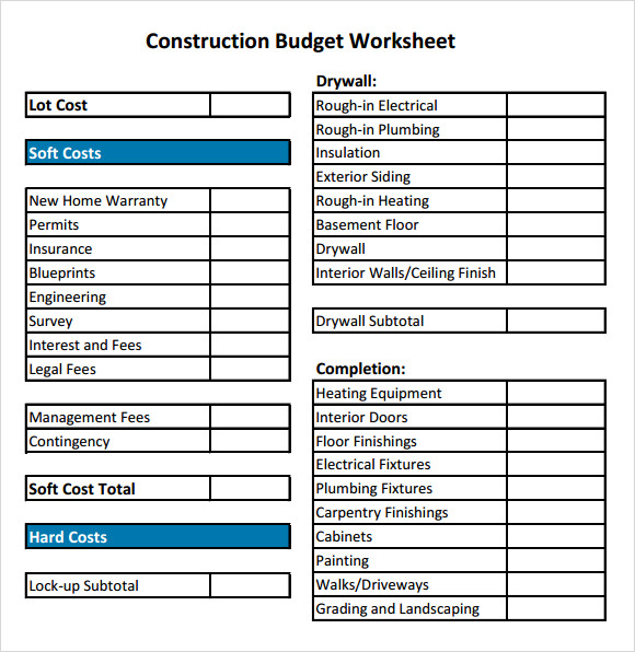 construction budget worksheet sample