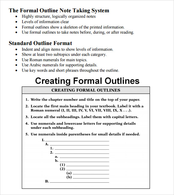 Formal Outline Template 6 Download Free Documents In