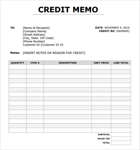 Credit Memo Template  WowcircleTk